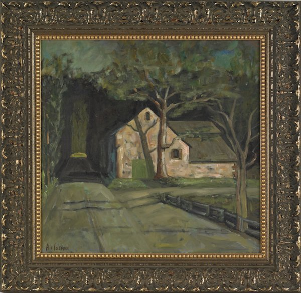 638: Oil on canvas landscape with a house, signed Ali