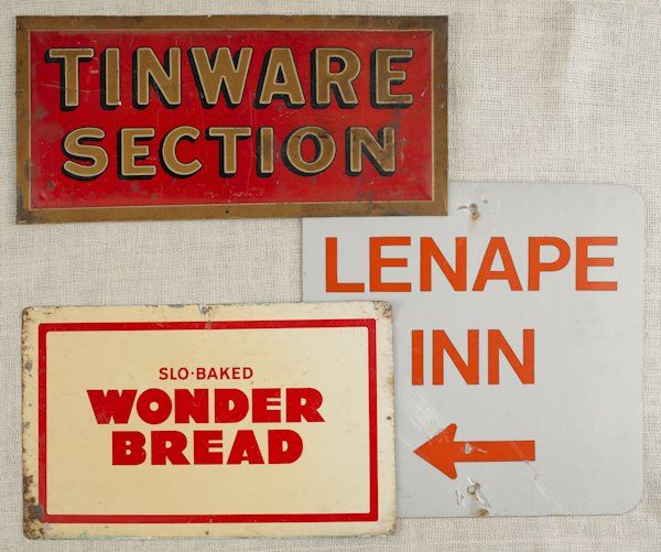 Embossed tin advertising sign, early 20th c., ins