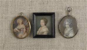 798: Three miniature watercolor on ivory portraits, 19