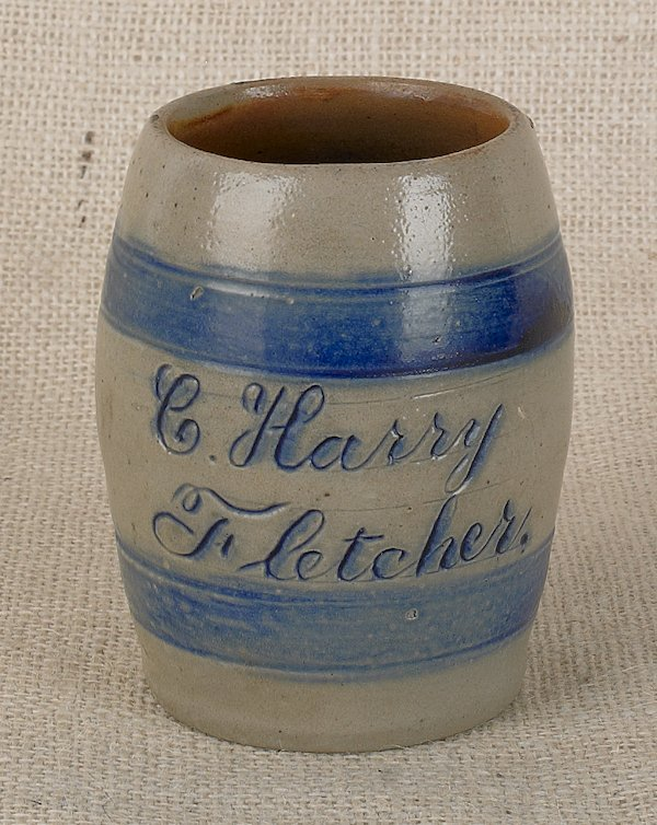 13: Stoneware mug, 19th c., inscribed C. Harry Fle