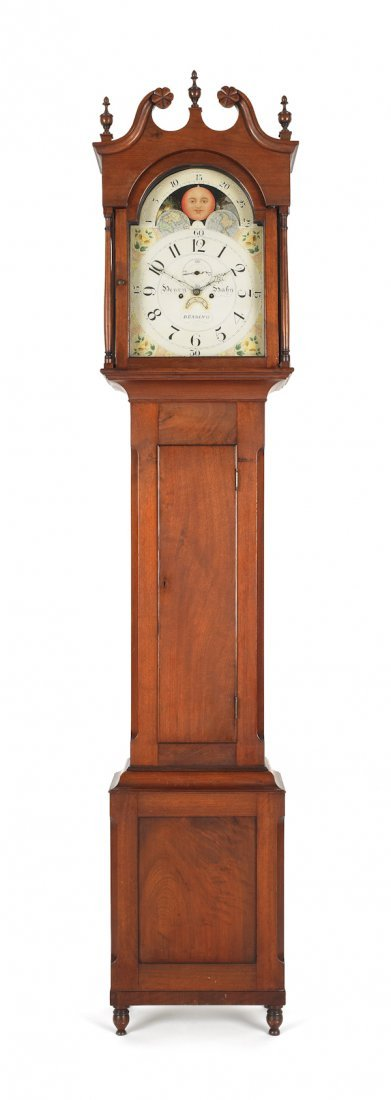 20: Pennsylvania walnut tall case clock, early 19th