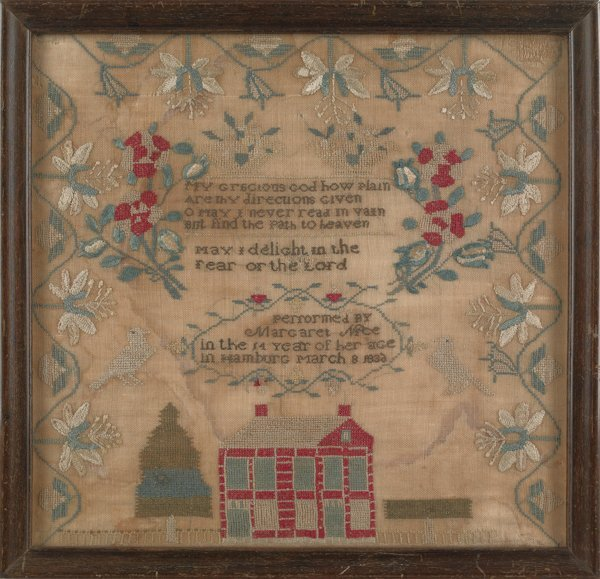 21: Pennsylvania silk on linen sampler, dated 1832