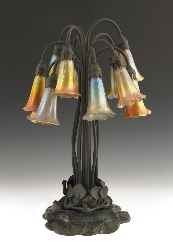 790: Tiffany Studios twelve-light lily lamp, with Fa