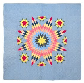 1: Pennsylvania pieced morning star quilt with a ma