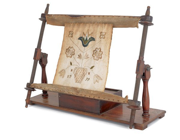 8: Mahogany sampler stretching rack, with delicate
