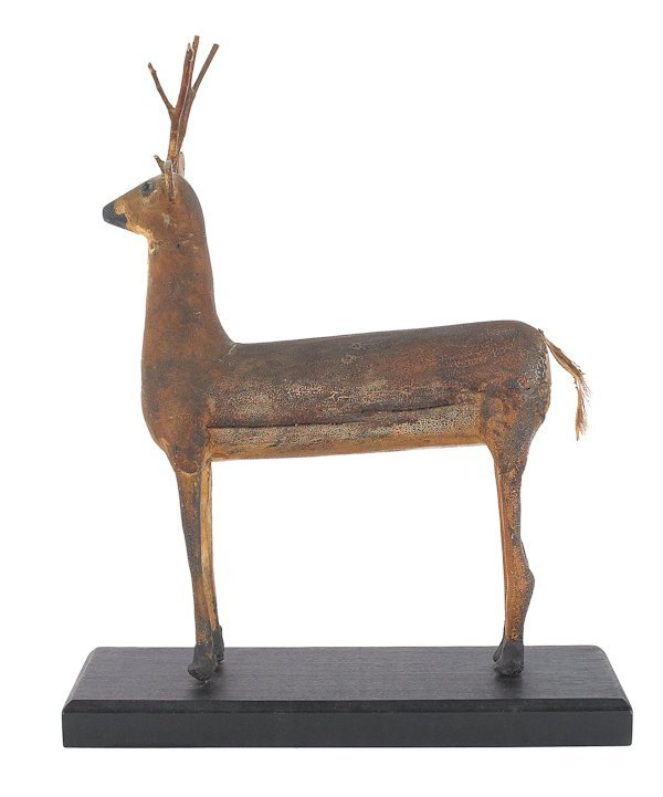 10: Folk art carved and painted figure of a deer, 19