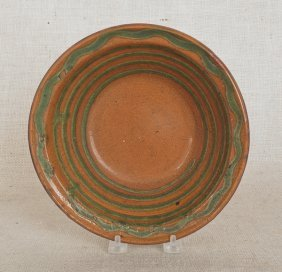 11: Pennsylvania redware bowl, 19th c., attributed