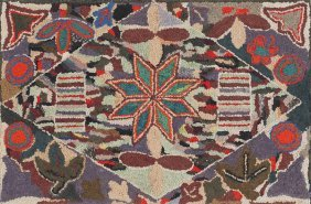 17: Vibrant American hooked rug, early 20th c., wit