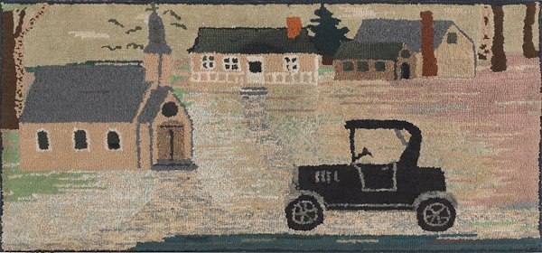 18: American hooked rug, early 20th c., with a town