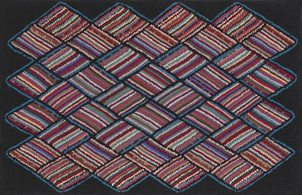 19: American hooked rug, 20th c., with a striped di