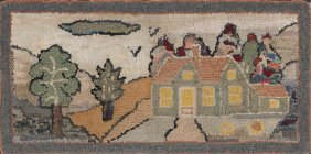 20: American hooked rug, early 20th c., with a land
