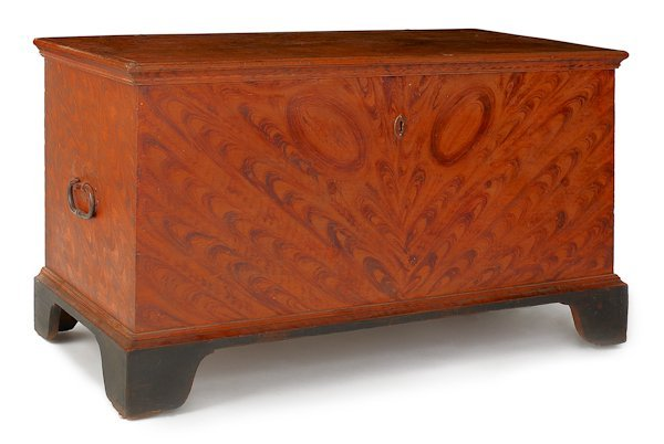 22: Pennsylvania painted pine dower chest, ca. 1800