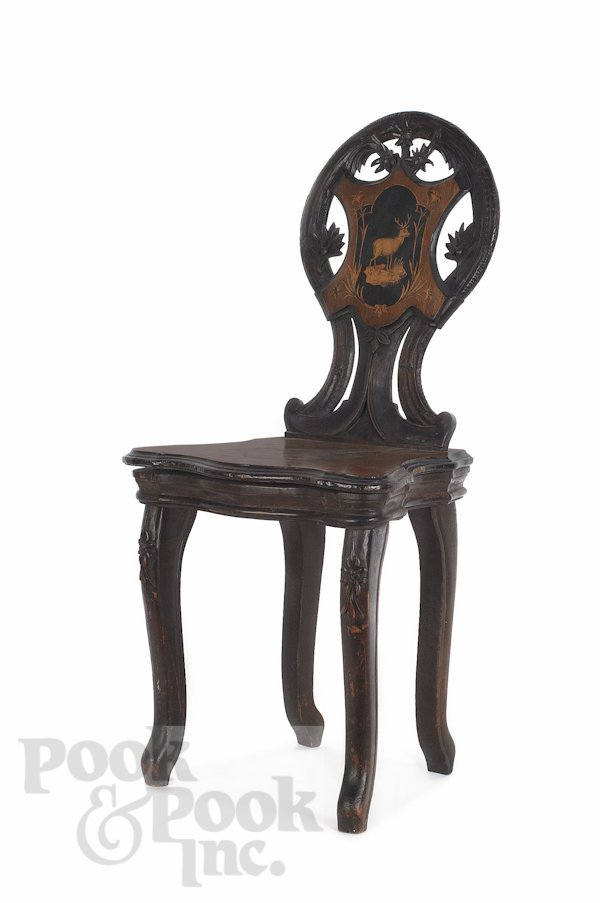 2: Chevob & Co. musical chair with parquetry inlay,