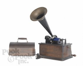 12: Oak Edison Victrola, model H, with a tin horn.