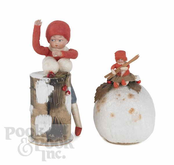 341: Two German Heubach Christmas candy containers, ca
