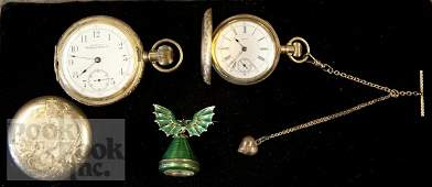 600 Two 14K gold hunt cased pocket watches Waltham a