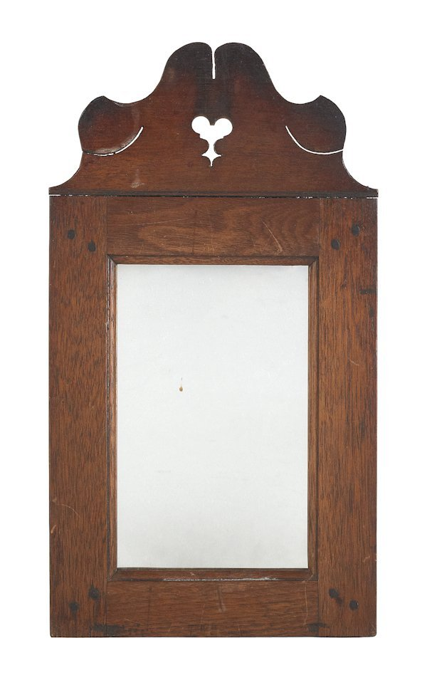 2: Pennsylvania walnut mirror, ca. 1800, with a he