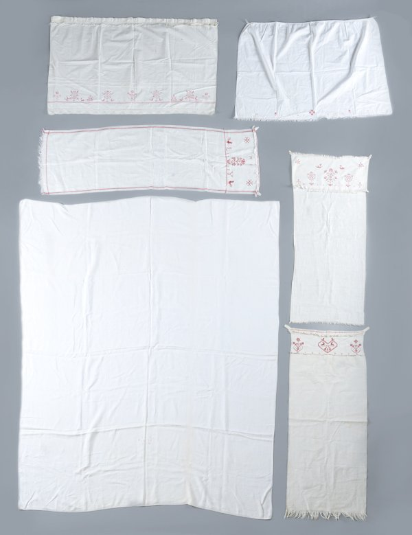9: Pennsylvania embroidered linen bed sheet, dated