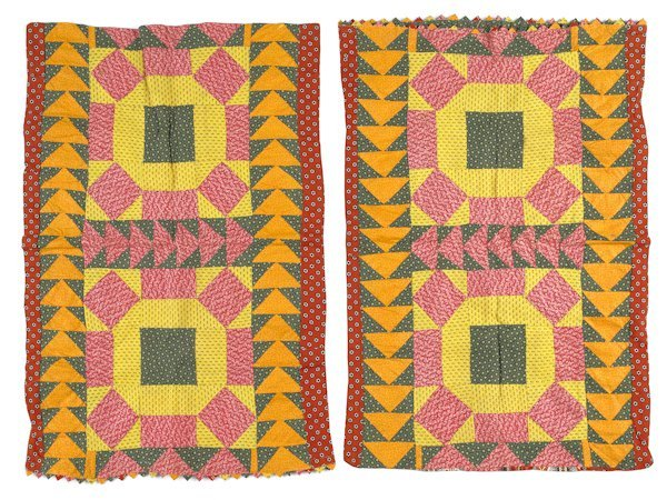 13: Pair of Pennsylvania pieced pillow shams, 19th c