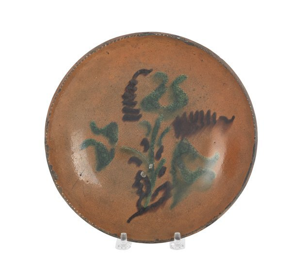 16: Pennsylvania redware pie plate, 19th c., with s