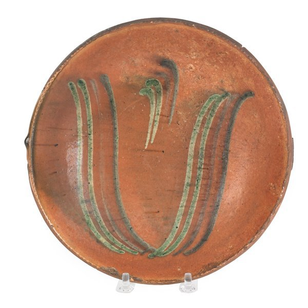17: Pennsylvania redware pie plate, 19th c., attrib