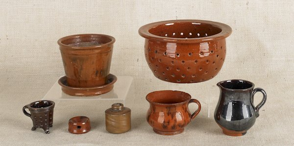 19: Collection of Pennsylvania redware, 19th c., to