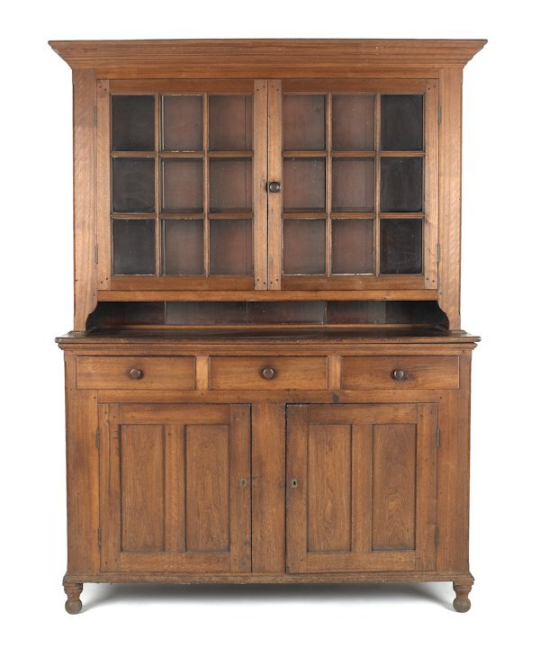 20: Pennsylvania walnut two-part Dutch cupboard, ca.