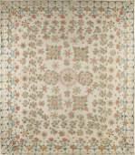 236 American stenciled cotton bed cover ca 1820
