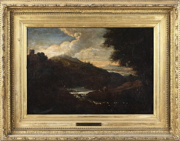 Oil on canvas landscape, late 19th c.