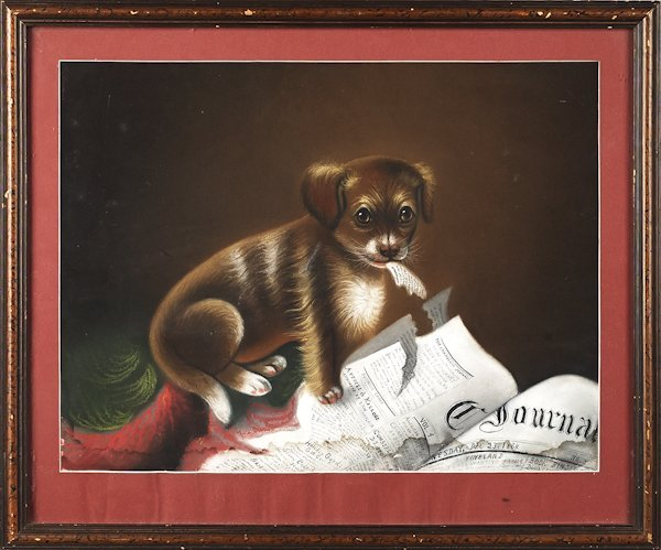 Pastel portrait of a puppy, ca. 1900.