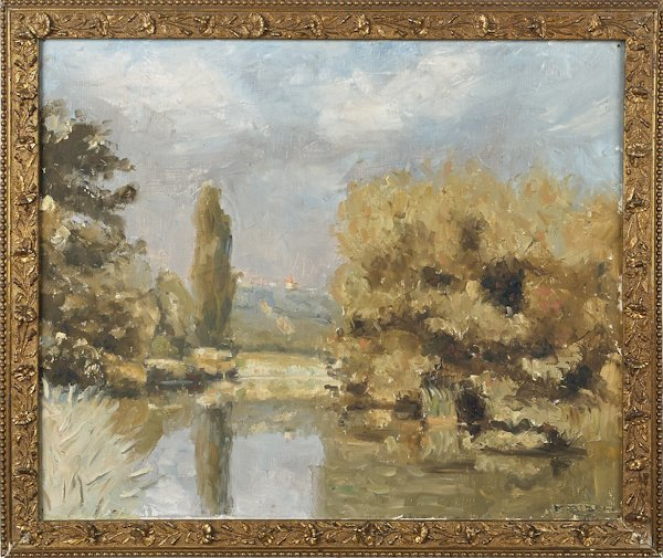 Oil on canvas landscape, early 20th c., signed R