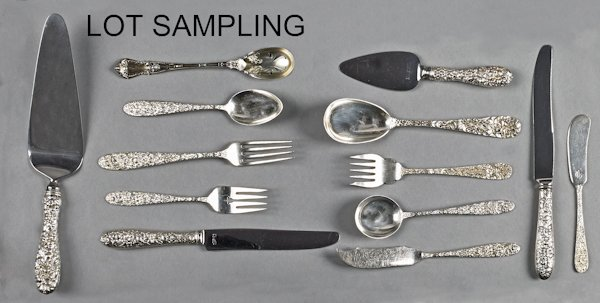 Collection of repoussé sterling silver flatware,