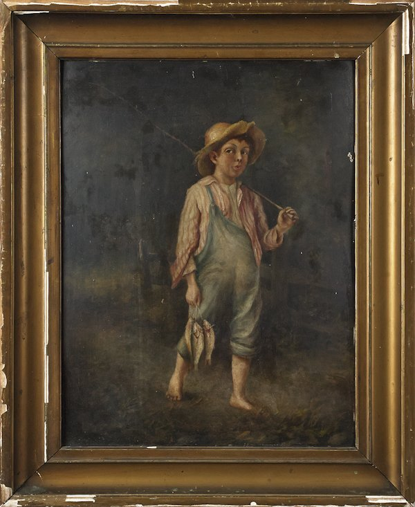 American oil on board of a boy with a stringer of
