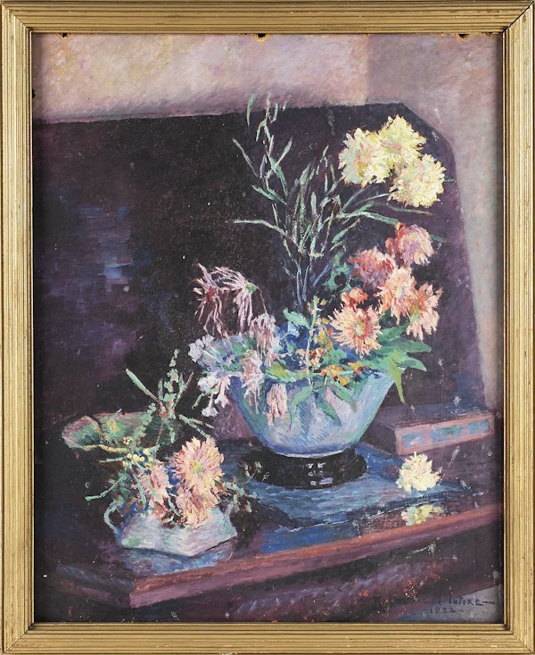 American oil on board still life, signed Katheri