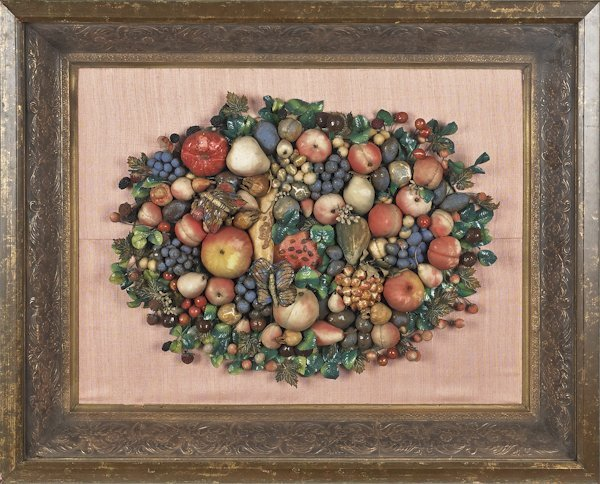 Victorian fabric and wire wreath of fruit, in a s