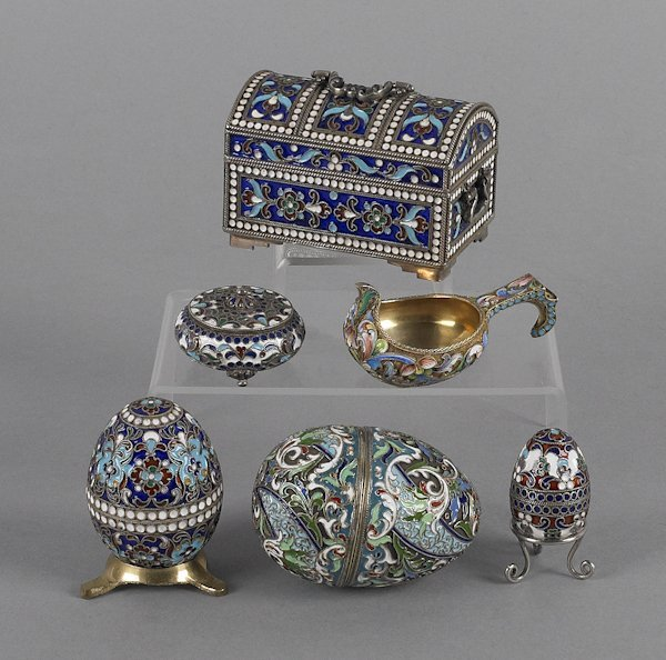 Collection of Russian silver enamel, to include a