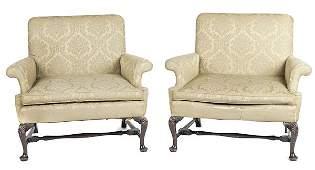 Pair of George III style mahogany love seats, lat