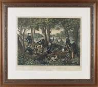 Currier and Ives lithograph titled Trotting Sta