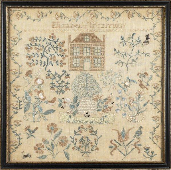 Pennsylvania silk on linen sampler, wrought by