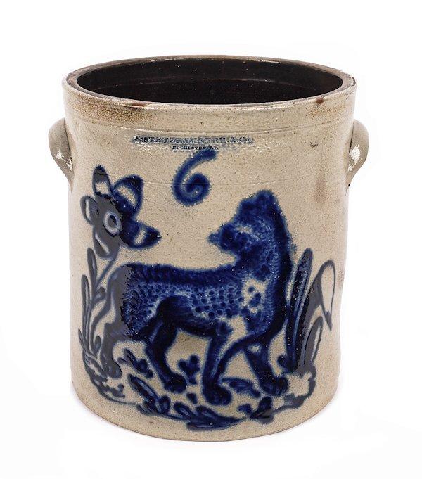 Six-gallon stoneware crock, 19th c., impressed