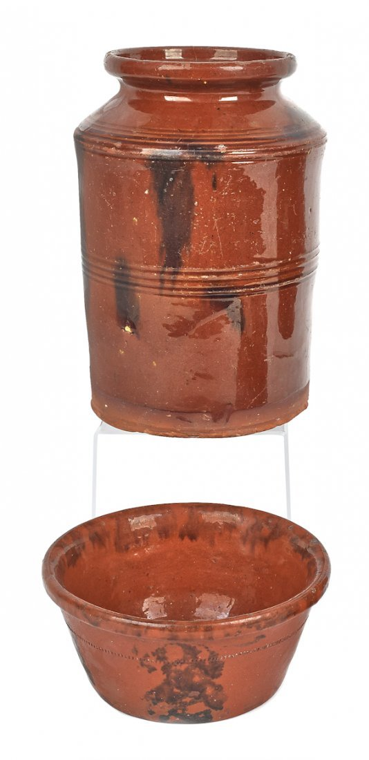 Two pieces of Pennsylvania redware, 19th c., to