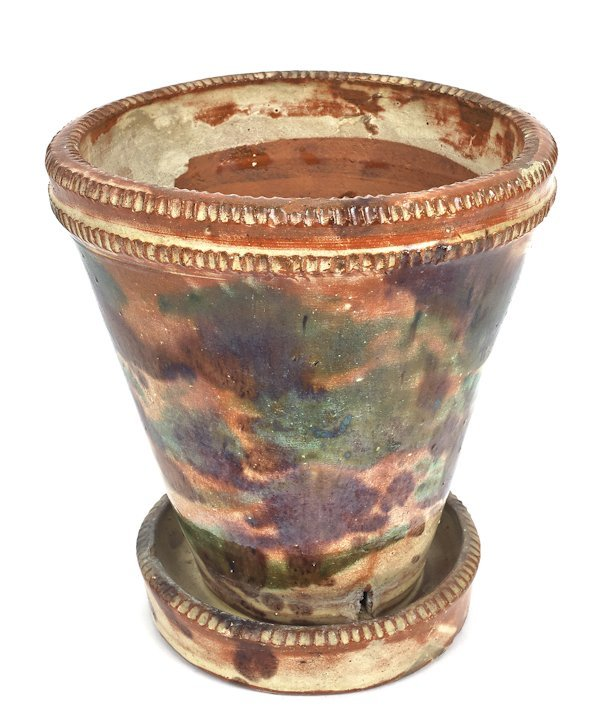 Shenandoah Valley redware flowerpot, 19th c., w