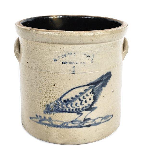 Four-gallon stoneware crock, 19th c., impressed