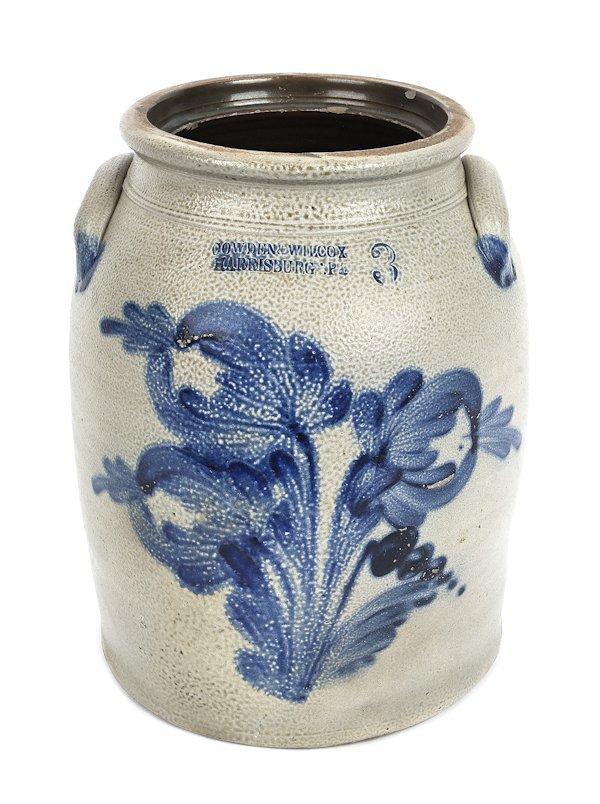 Pennsylvania three-gallon stoneware crock, 19th