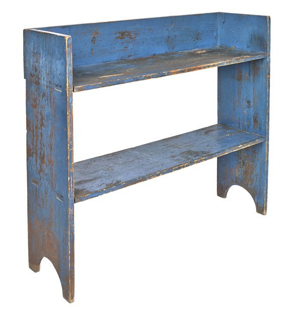 Painted pine bucket bench, 19th c., retaining a