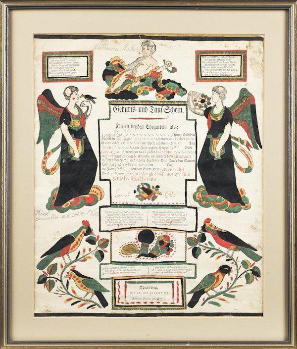 Pennsylvania printed and hand colored Geburts un