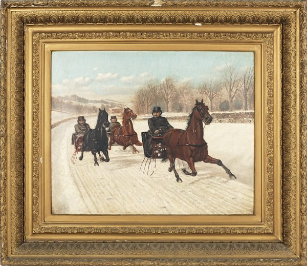 American oil on canvas winter sleigh race, sign