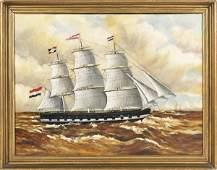 Oil on canvas ship portrait, 19th c., titled ve