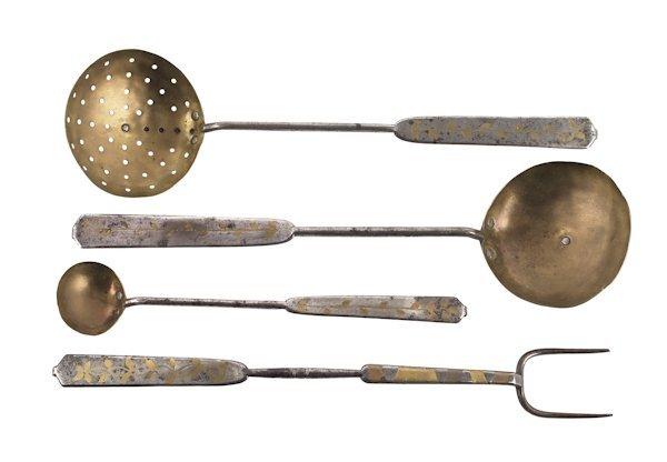 Rare set of four Pennsylvania iron and brass kit