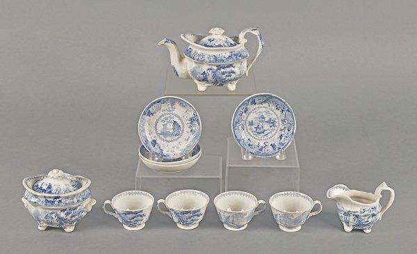 Miniature eleven-piece blue Staffordshire tea ser